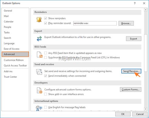Outlook Change Send/Receive Settings