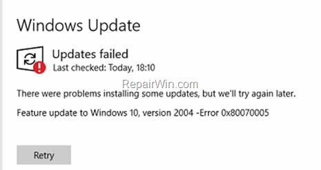 FIX: Windows 10 0x80070005 Update Error