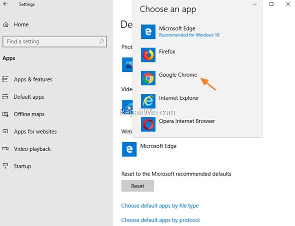 Set Default Web Browser - WIndows 10