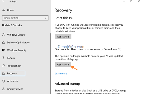 Restore Windows to earlier version