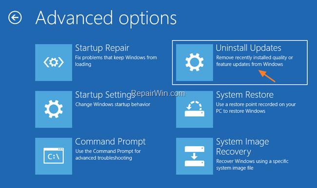 Tùy chọn sửa chữa Windows 10