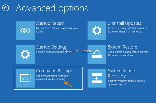 Repair Options Command Prompt
