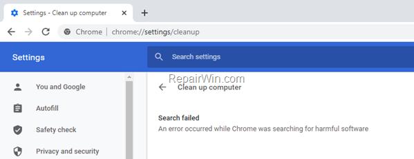 Clean up computer failed