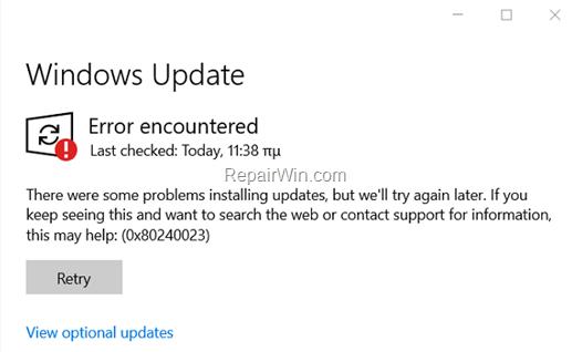 FIX: Error 0x80240023 in Windows 10 Update