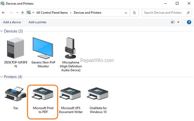 Print to PDF Windows 10