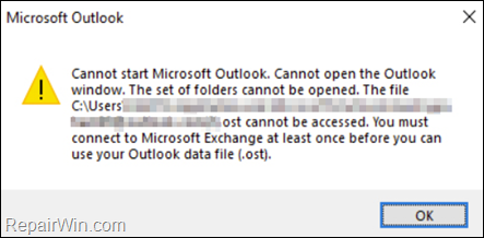 FIX: You must connect to Microsoft Exchange at least once before you can use Outlook data file