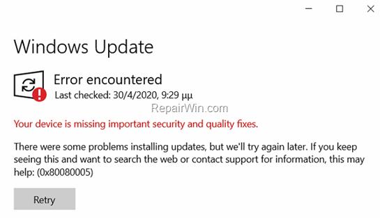 FIX 0x80080005 in Windows Update.