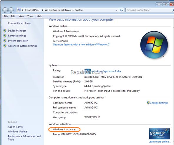 Windows Activation Status