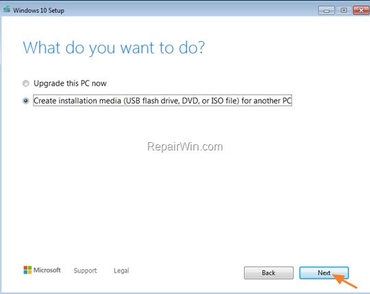 Create Windows 10 USB Installation Media