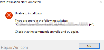 """FIX: """"There are errors in the following switches"""" in Java .jar file"""