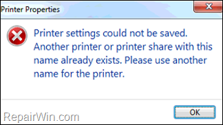 Printer settings could not be saved - Printer share name already exists