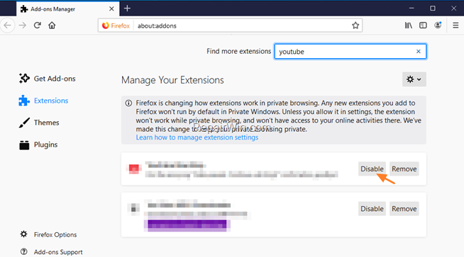 Manage Firefox Extensions