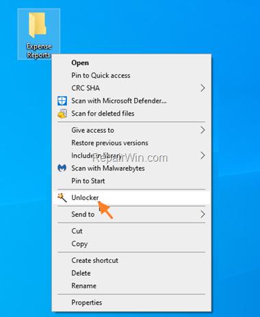 Delete file with Unlocker