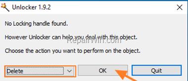 Delete Folder with Unlocker