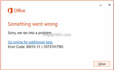 FIX Error Code 30015-11 (3221225506) or 30015-11 (1073741790)