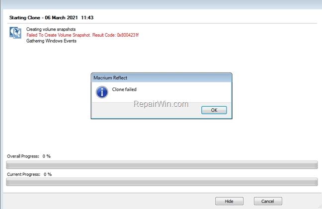 FIX: Macrium 0x8004231f - Failed To Create Snapshot