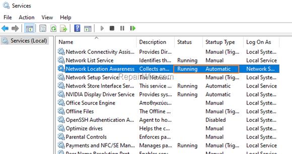 Network Services - Windows 10