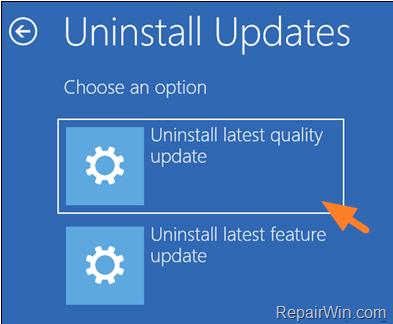 Unnstall Update WinRE