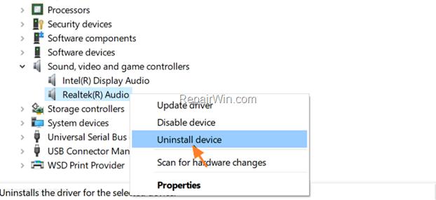 Uninstal Device Windows