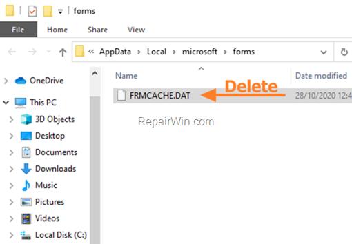 Delete Forms Cache File: FRMCACHE.DAT