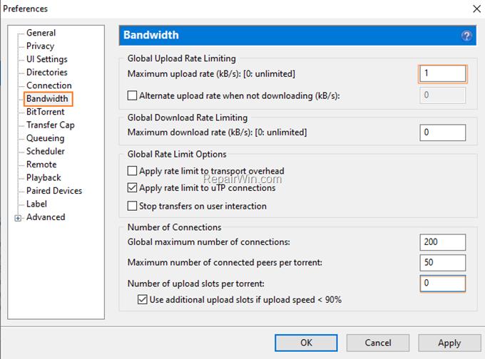 disable seeding uTorrent