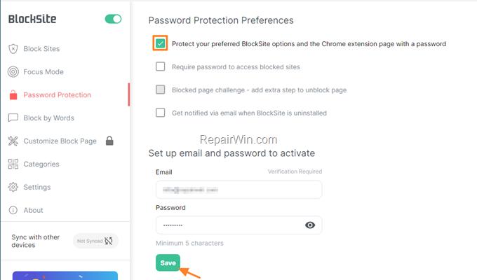 password protect blocked sites