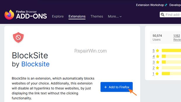 block websites firefox