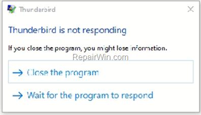 Thunderbird is not responding or freezing - fix