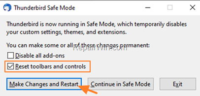 Reset Thunderbird Toolbars