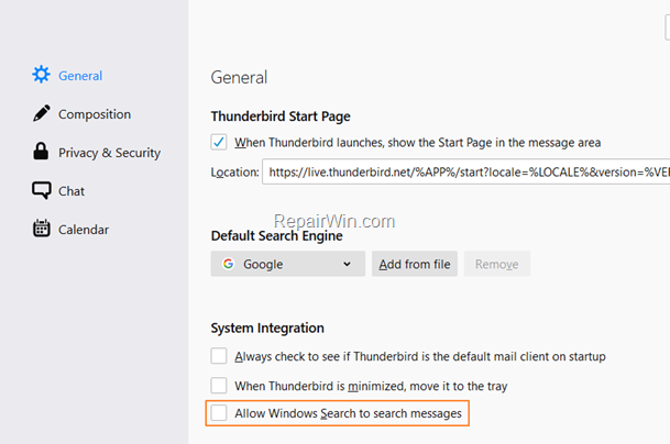 Disable Windows Search in Thunderbird Messages