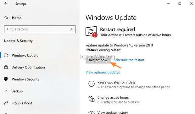 FIX Windows 10 21H1 Installation Problems.