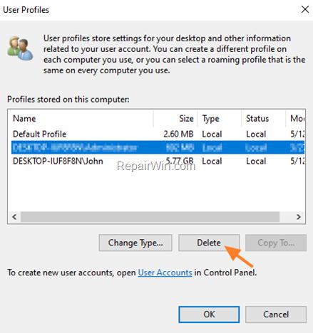 Delete User Profile