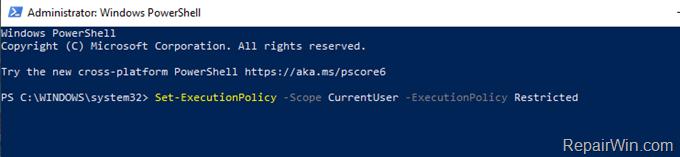 Disable running scripts windows 10