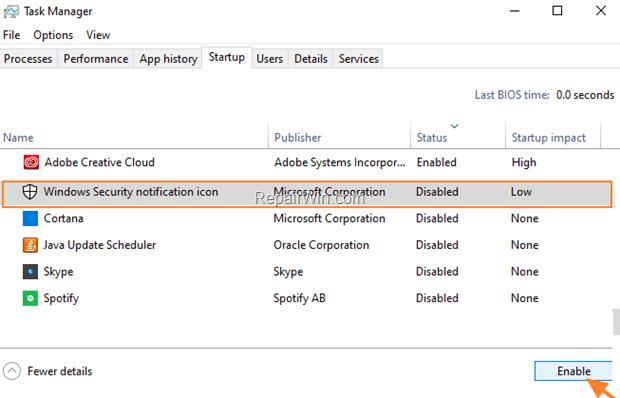 Windows Defender icon Startup