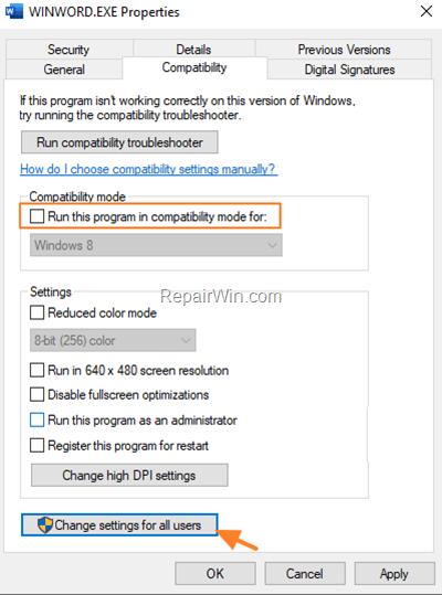 run program in compatibility mode
