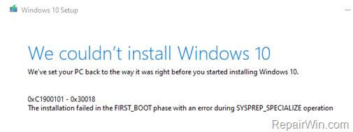 FIX 0xC1900101-0x30018 in Windows 10 Update.