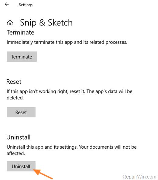 Uninstall Snip & Sketch