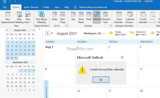 fix Could not read calendar in Outlook