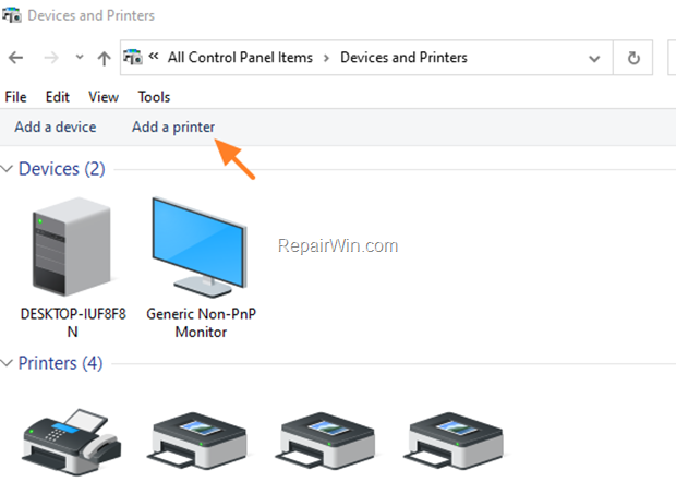 Add Printer Windows 10